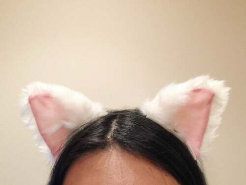 Cat ears Kitty Headwear White// Pink inside Furry Animal Headband Costume BowBell