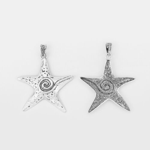 3x Large Tibetan Silver Spiral Starfish Sea Star Pendants For Necklace Making