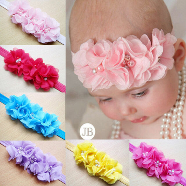 4pcs Mixed Color Baby Girl Elastic Headbands Flower Hair Bow Band Accessories