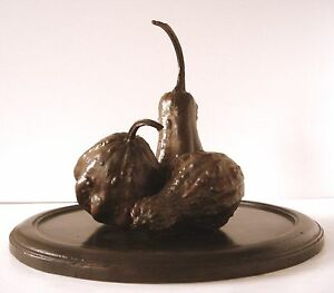 Lost-Wax-Bronze-Cast-Autumn-034-Gourd-Centerpiece-034-Sculpture-Fine-Art