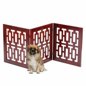 Safety-Pet-Gate-Dogs-Free-Standing-Folding-Wooden-Fence-Barrier-Stairs-Doorway