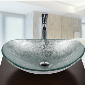 Details About Oval Bathroom Glass Vessel Sink Bowl Silver Basin Faucet  Pop Up Drain Combo Set