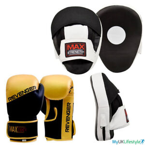 PINK Curved Focus Pads  With Boxing Gloves Hook and Jab Punch Bag Kick MMA R A X