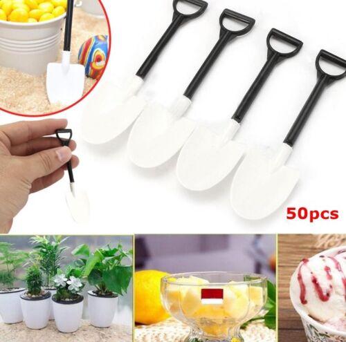 50Pcs Plastic Disposable Mini Shovel Spoon Potted Cake Ice Cream Dessert Spoon