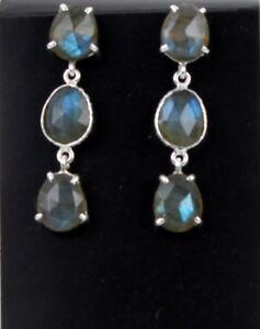 Labradorit-Ohrstecker-925-Silber-Edelstein-Schmuck-Ohrschmuck-Grau-mit-Blau-neu