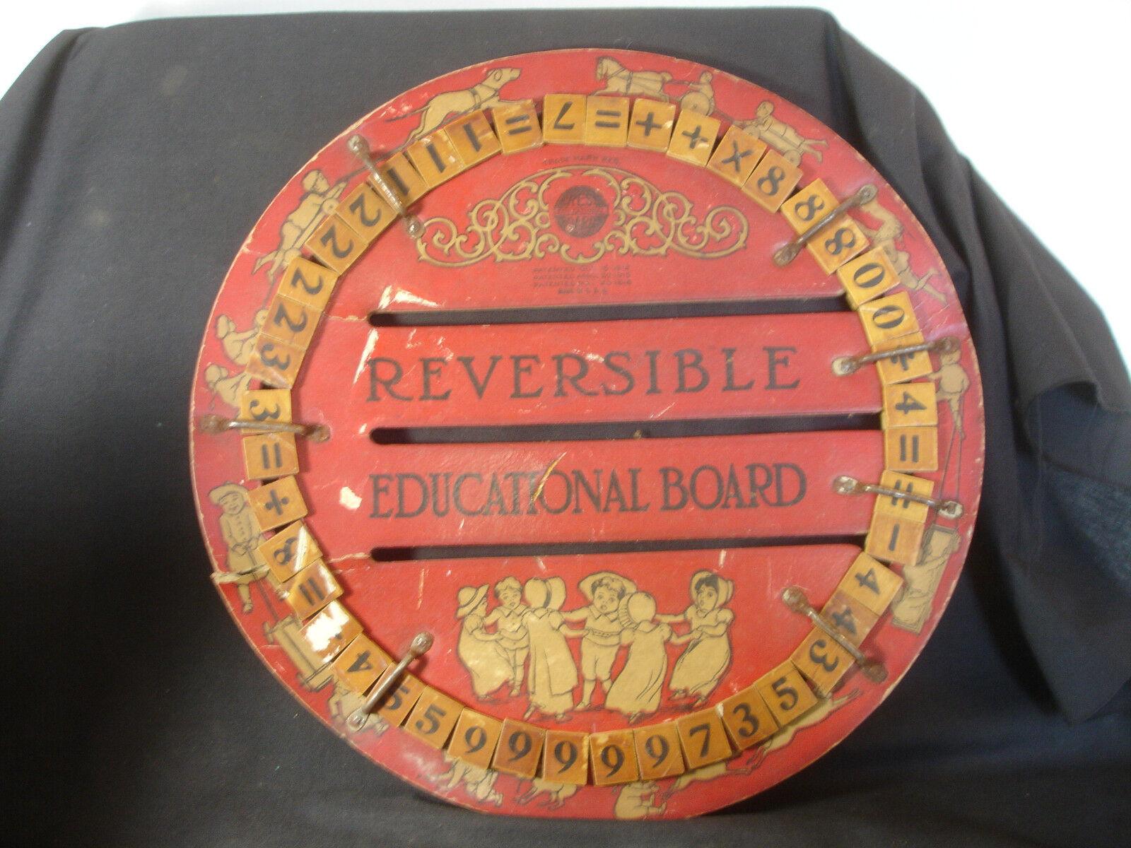 Antiguo De Colección 1912 Antiguo Infantil Reversible Educativo Tablero Berro Madera Hecho En Usa