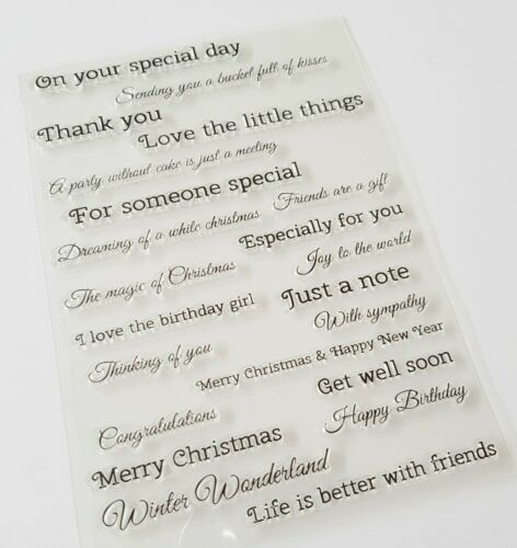 22 SENTIMENTS CLEAR RUBBER STAMPS-GREETINGS//SAYINGS LARGE STAMP//WORDS-CHRISTMAS