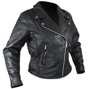 Image is loading Womens-PREMIUM-Black-Soft-Naked-Leather-Motorcycle-Biker- db5b32faf3