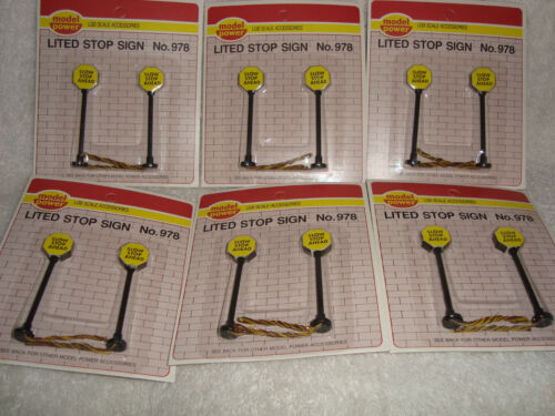 12 (Twelve)  G-SCALE 3 Tall Lited 'SLOW-STOP AHEAD Stop Signs New on 6 Cards