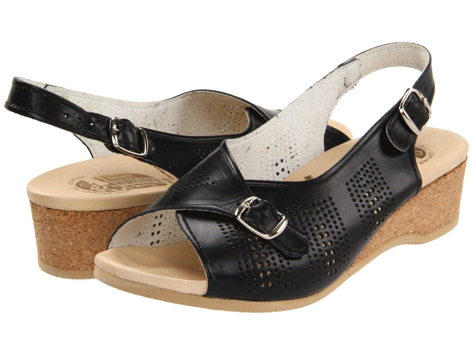 Para Mujer Worishofer confort sling-back Sandalia Negro 562