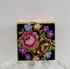 Antique/Vintage Petit Needle Point Floral Rose Compact Beautiful