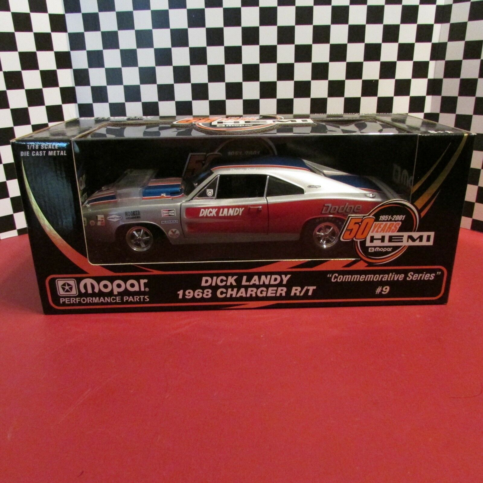 Ertl,1968 Dodge Charger R T,  Dick Landy  50 yrs.HEMI,issue  9,1 18 sc. diecast