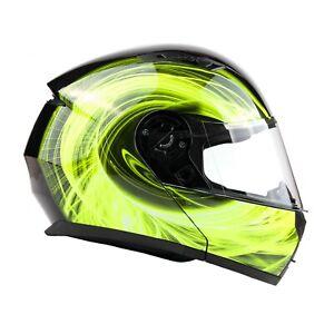 Adult Hi-Viz Yellow Modular Helmet Flip Up Motorcycle DOT Integrated Sun Visor
