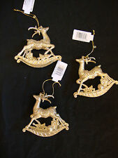 3 x GOLD Glitter Sparkle Reindeer Christmas Tree Baubles Hanging Tree Decoration