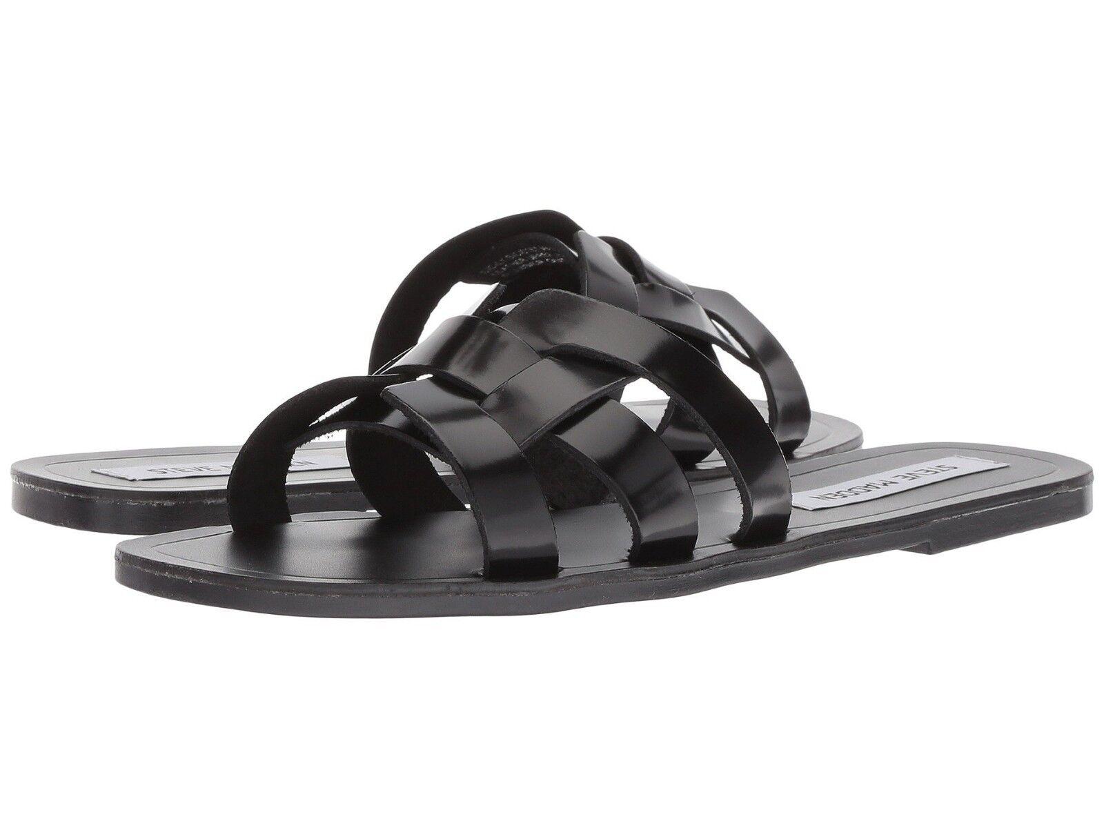 Steve Madden SICILY Slide Flats Sandals Black Women Size 6