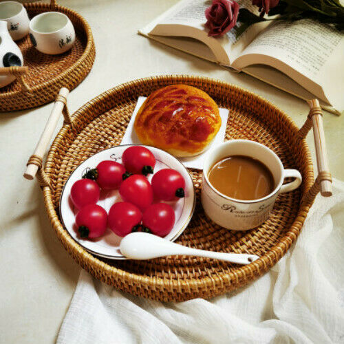 Rattan Bread Basket Handmade Round Woven Tea Tray W// Handles For Serving Dinner