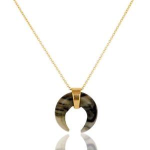 18K Gold Plated 925 Sterling Silver Handmade Zebra Jasper Chain Pendant Jewelry