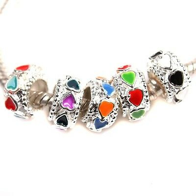Double-color Enamel Hearts Charms Silver Tone Alloy Beads For European Bracelets