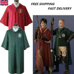 Harry Potter Quidditch Uniform Cosplay Cloak Gryffindor Slytherin Cape ClothesUK