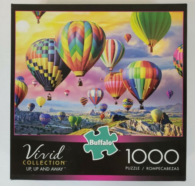 Buffalo Vivid Collection Up, Up and Away 1000 Piece Puzzle Hot Air Balloon NEW,