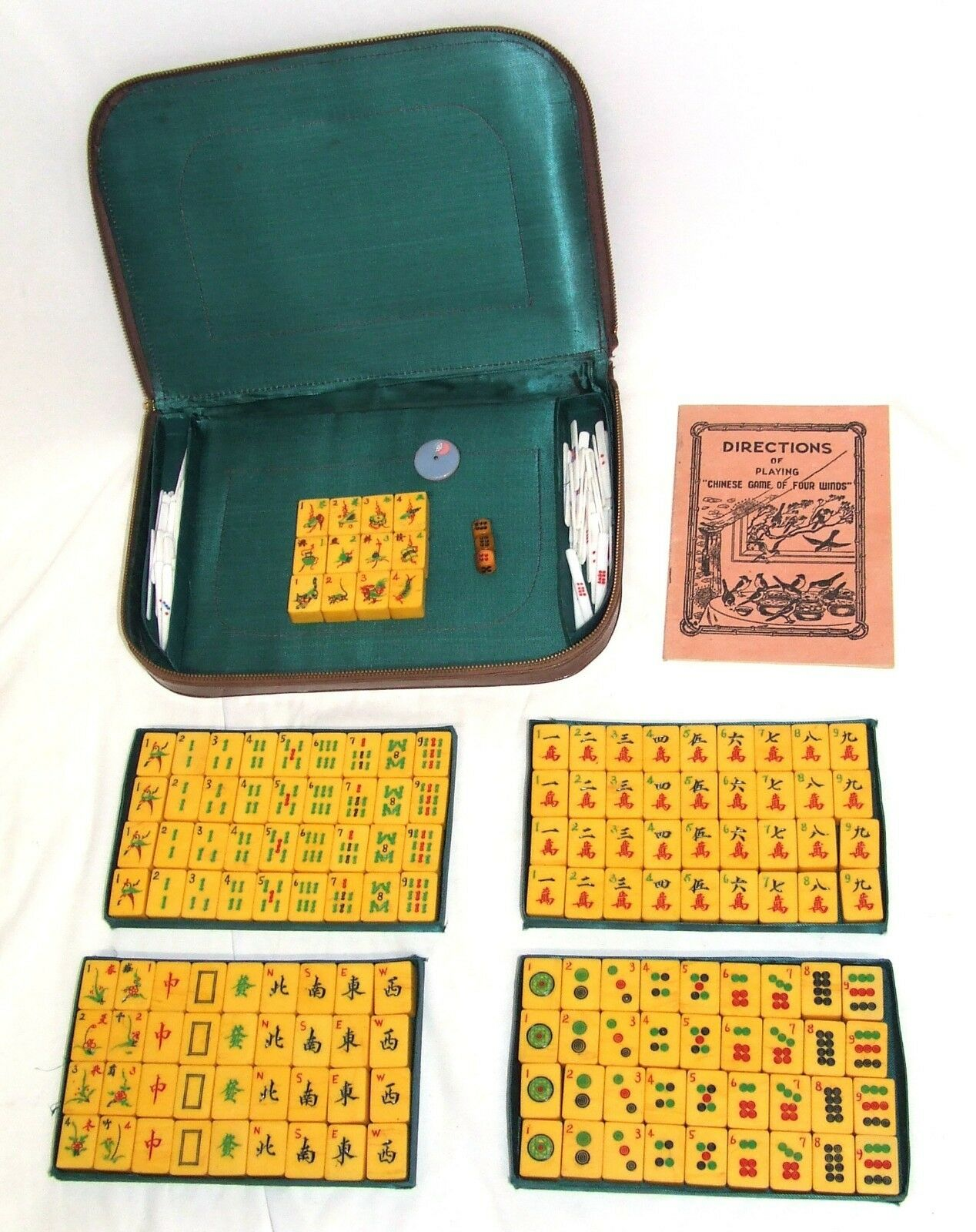 RARE  Vintage Cinesi Mahjong Mah Jong JONGG Set 156 Piastrelle  5 Set Piastrelle Fiori  consegna rapida
