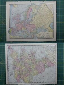 Europe england wales vintage original 1895 crams world atlas map image is loading europe england wales vintage original 1895 crams world gumiabroncs Choice Image