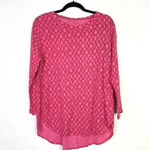 Fresh-Produce-Womens-Sz-L-top-3-4-Sleeve-Pink