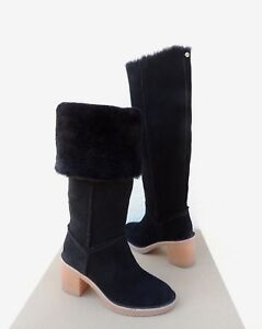 831b63abc67 Details about UGG KASEN TALL BLACK SUEDE/ SHEEPSKIN HIGH HEEL BOOTS, US 5/  EUR 36 ~NEW