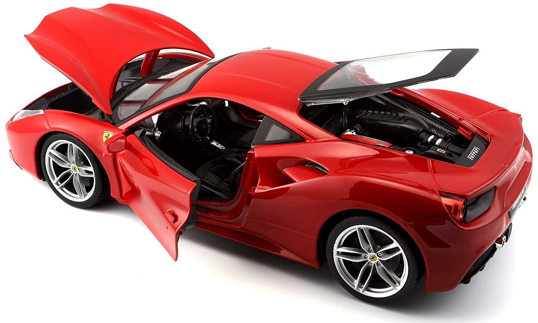 Ferrari 488 GTB rouge rouge 1 18 Scale Diecast 16008r Burago Model Car by BBurago