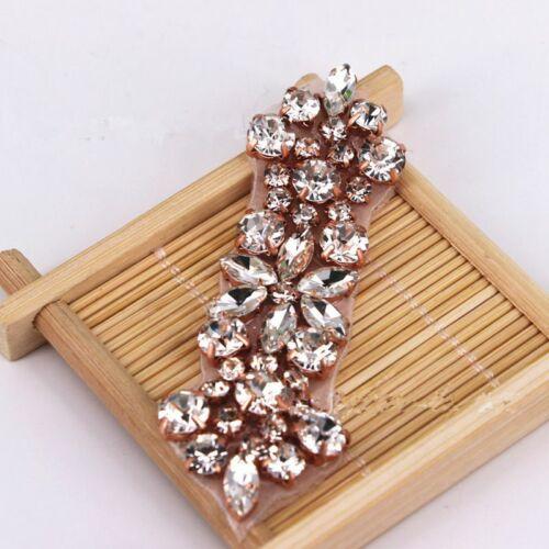 1 X Strass Perles Applique Trim Sew Iron on Bridal Costume Crafts