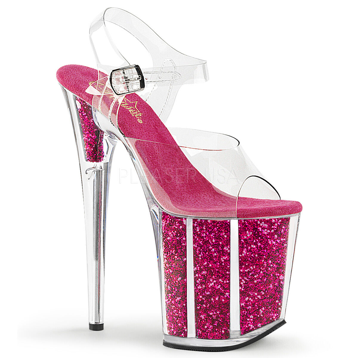 PLEASER Sexy Hot Pink Glitter Filled Platform 8