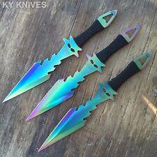 3 X PCS Rainbow Ninja Tactical Combat Kunai Throwing Knife Set Sheath Hunting -W