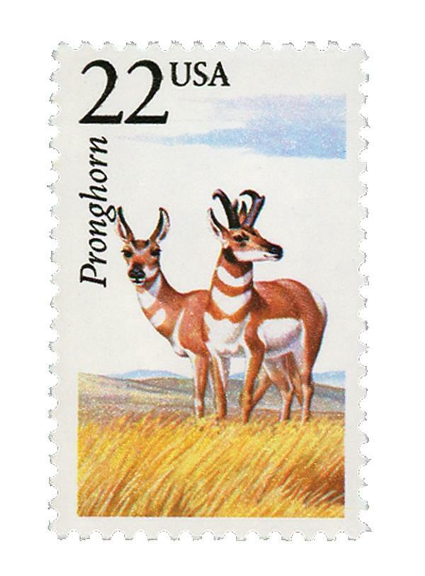 1987 22c Pronghorn Antelope, North American Wildlife Sc
