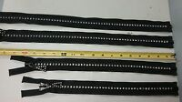 Rhinestone Zipper - Full Separating - Black - White - 14 16