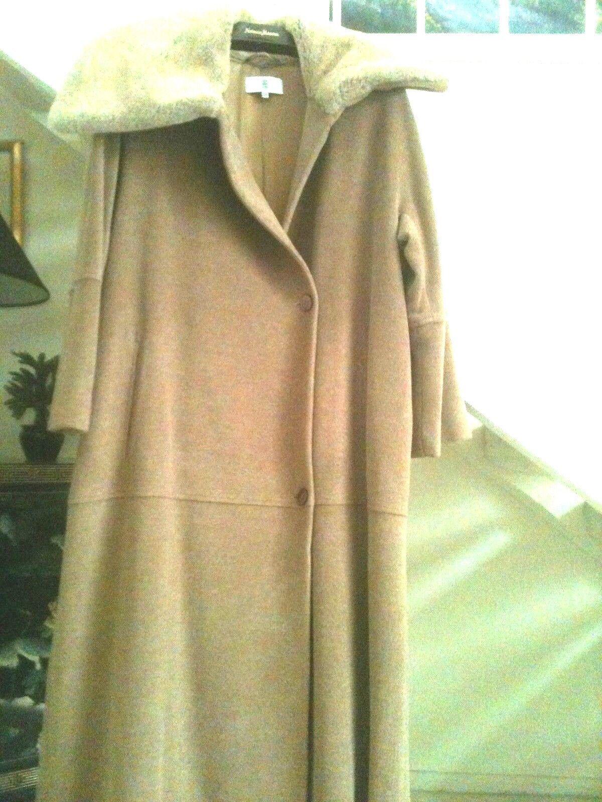 Long Coat, Faux Fur Collar by IRENE VAN RYB - Paris 100% Wool, Size 38, New