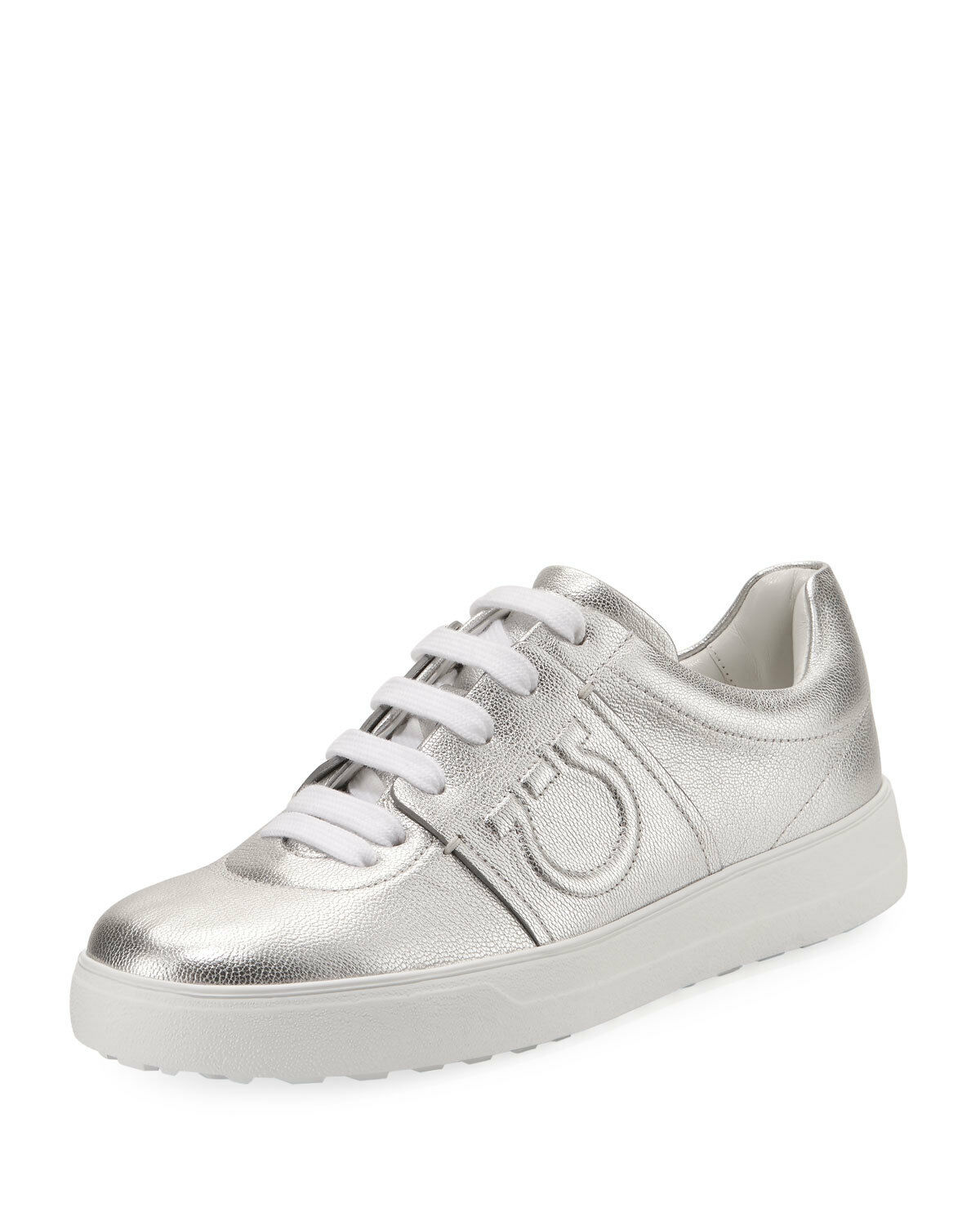 NIB NEW Salvatore Ferragamo Fasano Sneakers metallic silver 9C