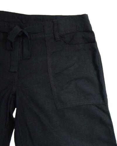 NUOVA linea donna neri Next Lino Pantaloni Taglia 12 Petite etichetta guasto