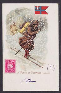 Kunzli-used-PPC-La-Poste-en-Norwege-1901-usage-PARIS-ST-SEVER-Norway-Postman