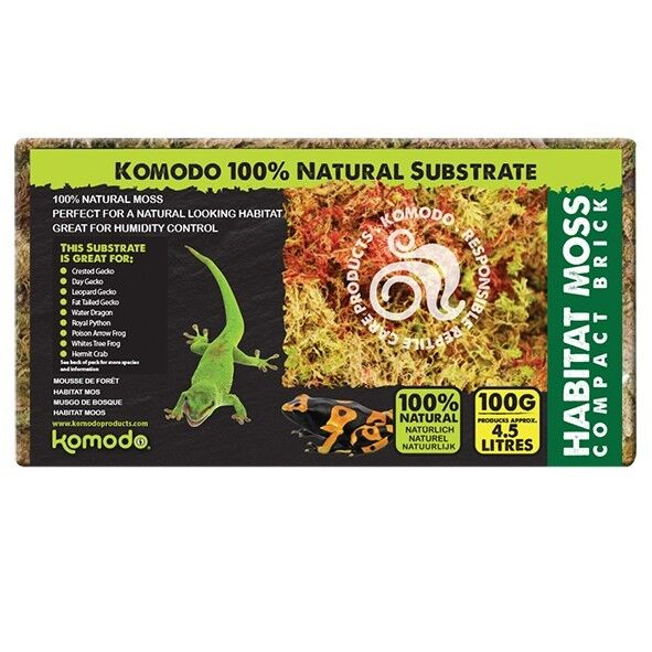 Komodo Habitat Moss Brick 100g Compact Sphagnum Moss Frogs Snails Reptile Hide