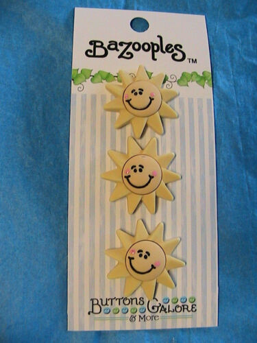 HAPPY FACE SUN 3 shank BUTTONS~clothing~paper crafts~quilts~dolls~scrapbooking+