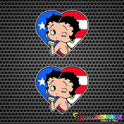 2x BETTY BOOP PUERTO RICO RICAN FLAG BACKGROUND HEART  VINYL CAR STICKERS DECALS