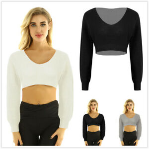 Women-V-Neck-Long-Sleeve-Crop-Top-Pullover-Knitted-Sweater-Casual-Blouse-Shirt