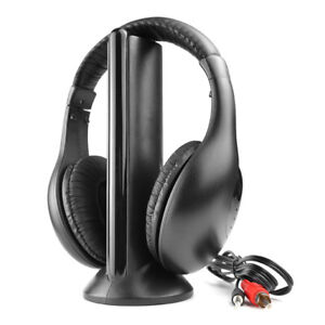 Wireless-5-In-1-Headphone-Headset-Cordless-RF-Earphone-For-TV-PC-MP3-FM-Radio