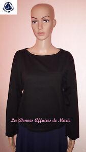 PETIT BATEAU - PROMO -50% - T-shirt manches longues et col rond noir - Neuf éti