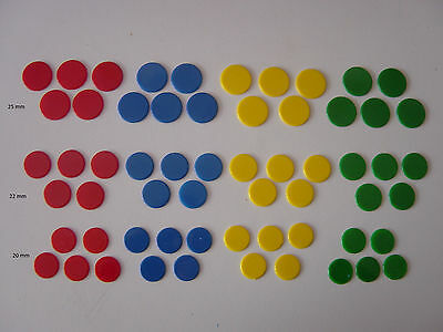 100 x 22mm Board Games Teaching Counters Tiddly Chips Token Numeracy 12 Colors