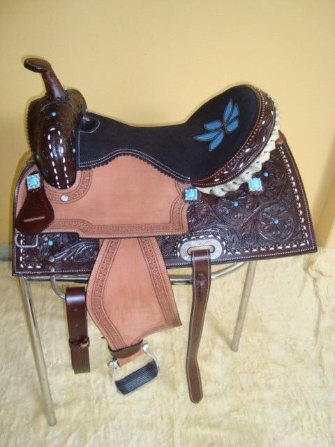 Designer Brown western Leather Show saddle 2 tone  size 16