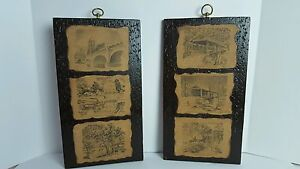 Details about Vintage Indiana 1967 Hand Made Pictures Art Work Decoupage On  Wooden Plaques