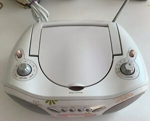 Next-Play-CD-Player-Radio-Battery-Ready-White-And-Pink-For-Child-s-Room-Tested