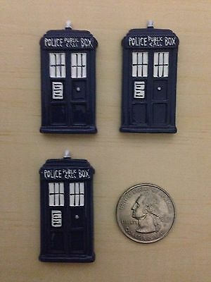 Dr Who Box Flat Back Resin-Cabochon-Bow Center-Embellisment-Craft-3 Pieces