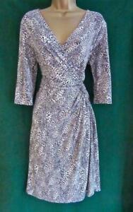 Ultra-soft-Peacocks-Uk-16-Black-Grey-Animal-Print-Stretch-Jersey-Day-Eve-Dress